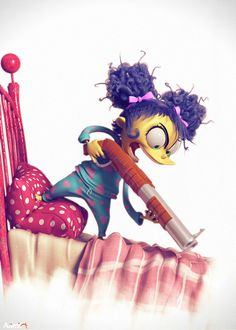you picked up the --wrooooong-- bed monster. by Aamir Art   Cartoon   3D   CGSociety