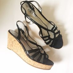 """🎀SALE🎀 Guess   Black Strappy and Cork Wedges So cute for summer and in excellent condition! Strappy black sandal with cork wedge. Very comfortable! Worn twice. 3"""" heel height with a 1"""" height beneath the toe. 🎀 BUY 2 ACCESSORIES, GET 1 FREE! Buyer's choice of shoes, jewelry, scarves, and bags! 🎀 Guess Shoes Wedges"""