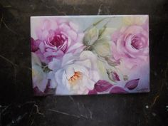 Hello Painters I have started this thread to show all my rose studies on.  This is a first fire of a white rose, painted on a 5 x 7 tile made in Venezuela, The tiles have a wonderful shine  when