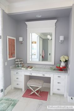 White Master Bathroom (ready for Spring!) - The Sunny Side Up Blog