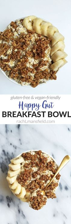 A Happy Gut Breakfast Bowl filled with probiotic and prebiotic foods that are good for your stomach!