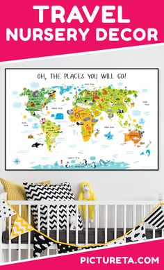 Create adventure nursery for your baby with Pictureta's world map. I wish I had this map when growing up. It is full of adorable animals and famous landmarks and looks awesome in my baby's nursery. Get yours at PICTURETA. Playroom Wall Decor, Nursery Decor, Map Nursery, Ocean Nursery, Safari Nursery, Nursery Room, Baby Boy Nursery Themes, Baby Boy Nurseries, Travel Theme Nursery
