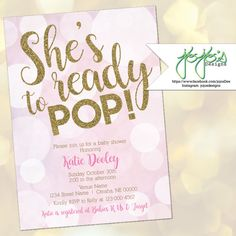 Printable ready to pop baby shower invitation free thank you card shes ready to pop baby shower invitation baby girl bubbles light pink filmwisefo