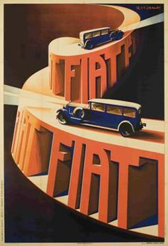 Fiat Automobile Italy Night Drive Car Going Uphill Italian Vintage Poster Repro - Autos und Motorräder Vintage Italian Posters, Vintage Advertising Posters, Car Advertising, Vintage Travel Posters, Vintage Advertisements, Vintage Ads, Pinterest Advertising, Italy Illustration, Art Deco Illustration