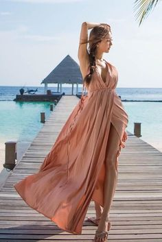 e7fc377d7390b SHEIN Plunging Surplice Front Crisscross High Slit Cami Dress  women   dresses  clothes