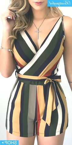Colorblock Striped Sleeveless Tied Romper - Colorblock Striped Sleeveless Tied Romper Source by - Trend Fashion, Teen Fashion Outfits, Girl Fashion, Fashion Dresses, Emo Fashion, Fashion Photo, Fashion Quotes, Fashion Beauty, Cute Casual Outfits