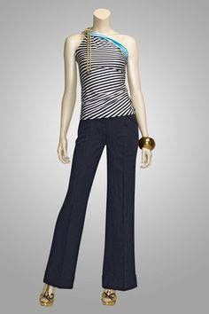 "This top I must have! ""Nautical"" striped rayon/silk jersey one-shoulder top & ""Maritime"" navy wide-leg denim trouser."