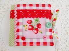Strawberry themed Needle Book by picocrafts on Etsy, $8.00