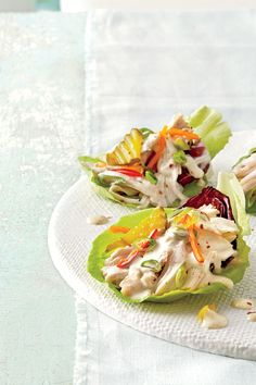 These cups pair the freshness of a salad with the heartiness of a taco.Recipe:Slow-Cooker Chicken Lettuce Cups