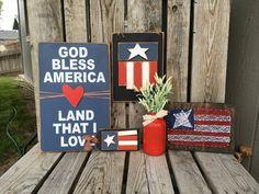 American flag string art wood sign Fourth of July by jodyaleavitt