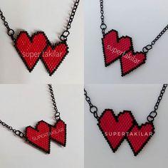 Sevgililer Günü Konsepti - Kalp kolye... Designed by @supertakilar Kendi tasarımım... #miyuki #handmade #supertakilar