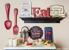 Cute Kitchen Decorating Themes kitchen wall art print set - eat drink love - coral, turquoise