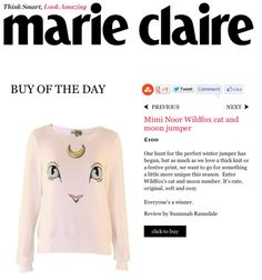 Wildfox cat and moon jumper featured as Marie Claire's buy of the day www.miminoor.com