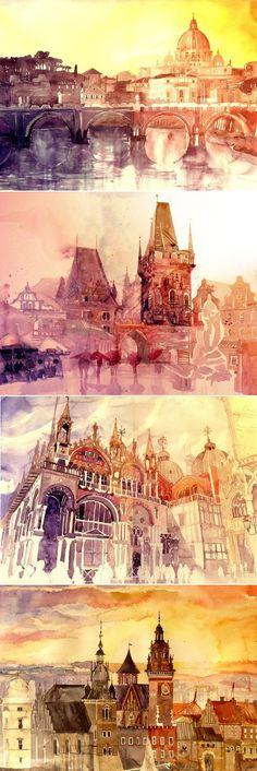Landscape paintings (Rome, Prague, Venice, Kraków) by Maja Wrońska. #watercolor #architecture #architecturalart #europeancities #colorfulart #watercolorpaintings