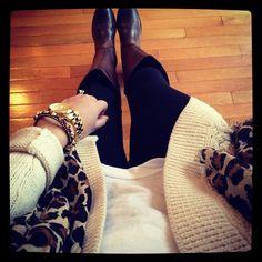 Frye boots, leggings, white shirt, cardigan, leopard scarf