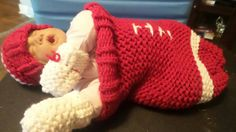 Check out this item in my Etsy shop https://www.etsy.com/listing/250425176/baby-football-cocoon-layette-set-red-and