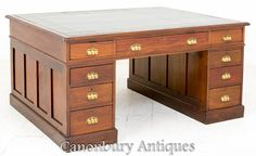 Here we have a good size Mahogany partners desk featuring 9 graduate drawers with original locks and pull handles. The sides of the desk are panelled the top Partners Desk, Office Desk, Drawers, Victorian, Storage, Furniture, Home Decor, Purse Storage, Desk Office
