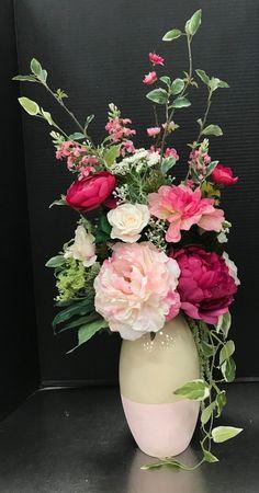 Medium Pink Spring Arrangement by Andrea Spring Flower Arrangements, Silk Floral Arrangements, Beautiful Flower Arrangements, Flower Centerpieces, Flower Vases, Beautiful Flowers, Wedding Centerpieces, Wedding Decorations, Faux Flowers