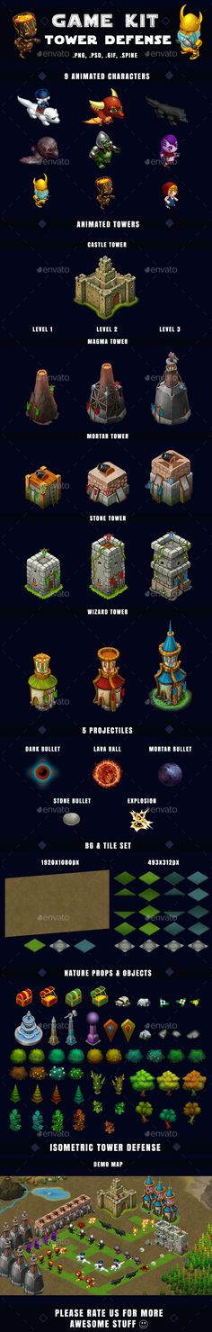 Isometric Tower Defense Kit 1 of 3 - Game Kits Game Assets