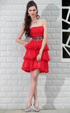 Glamorous red short prom dresses UK with Beaded - 81.90 :