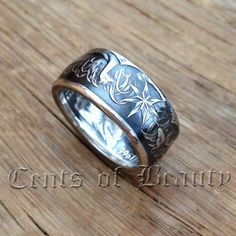 This Is A Double-Sided 1966 80% Silver Australian 50 Cent Hand-Crafted Artisan Coin Ring With 2-Tone Silver/Antique Finish Size 9.5. On the outside
