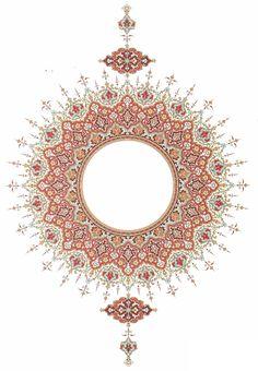 Persian Design 14 - to zoom repeat clicking. Islamic Art Pattern, Arabic Pattern, Pattern Art, Arabesque, Motif Oriental, Middle Eastern Art, Illumination Art, Persian Pattern, Turkish Art