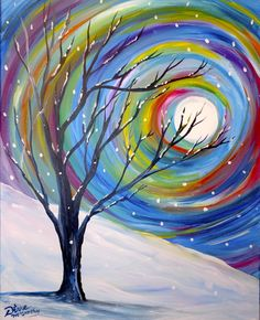 Her Canvas 40 Simply Amazing Winter Painting Ideas &; Her Canvas Karin K karinkromrei Hintergründe Winter Painting Tree Winter Painting, Winter Art, Winter Moon, Winter Night, Winter Tree Drawing, Diy Canvas, Canvas Art, Canvas Ideas, Canvas Paintings