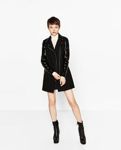 Image 1 of CONTRASTING PATENT FINISH BIKER COAT from Zara