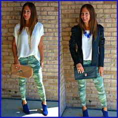 Take your cream solid top and bring camo into fall with a blazer!