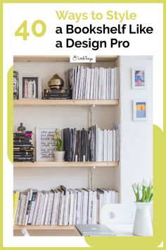 40 Ways to Style a Bookshelf Like a Design Pro: There are a few easy bookshelf styling tips and tricks that professional designers use to make sure shelves are as pretty as they are purposeful. Styling Bookshelves, Bookcases, Decor Pad, Shelving Design, Floating Shelves Diy, Open Shelves, Amber Interiors, Wooden Diy, Decorating Your Home