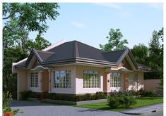 Wood panel doors, aluminum sliding windows or wrought iron, accent brick walls are the main features of these bungalow house concepts. Small Bungalow, Bungalow House Design, Bungalow Homes, Tiny House Design, Simple House Design, House Design Photos, Small Cottage Designs, Philippine Houses, Beautiful Small Homes