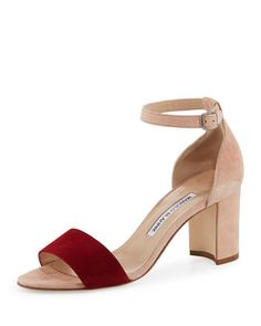 Lauratomod+Colorblock+Suede+Ankle-Wrap+Sandal,+White/Red+by+Manolo+Blahnik+at+Neiman+Marcus. $795.