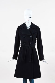 Burberry London Black Wool Cashmere Double Breasted Belted Trench Coat SZ 2 #BurberryLondon #Trench