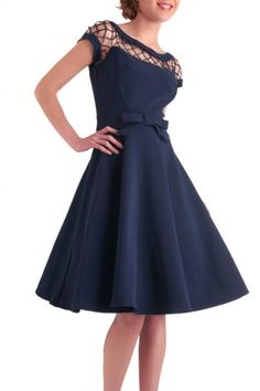 Bettie Page Clothing - 50s Alika navy circle dress TATYANA
