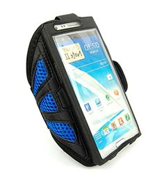 """myLife Cobalt Blue and Solid Black with Flex Mesh {Rain Resistant Velcro Secure Running Armband} Dual-Fit Jogging Arm Strap Holder for Samsung Galaxy Note Edge """"All Ports Accessible"""" myLife Brand Products http://www.amazon.com/dp/B00UGHRQ5O/ref=cm_sw_r_pi_dp_nkBhvb1X0T1NP"""