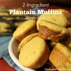 2-Ingredients Plantain Muffins - an easy, grain-free recipe for lightly sweetened muffins...or pancakes! | TheSweetPlantain.com