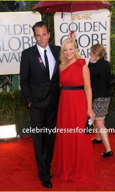 Amy Poehler Chic Red One-shoulder Bridesmaid Dress Online 67th Annual Golden Globe Awards Formal Dress.prom dresses,formal dresses,ball gown,homecoming dresses,party dress,evening dresses,sequin dresses,cocktail dresses,graduation dresses,formal gowns,prom gown,evening gown