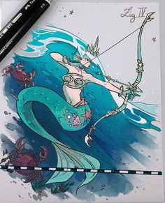 The Zodiac Archers- Cancer - Tattoo Pins Gabriel Picolo, Anime Zodiac, Art Manga, Pretty Art, Mythical Creatures, Cool Drawings, Art Inspo, Amazing Art, Art Reference