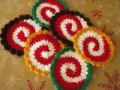 Crochet Christmas Spiral CoastersCrochet by TrudysKnotsofLove