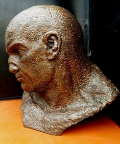 #Bronze #sculpture by #sculptor Marc Bodie titled: 'Urban Caesar (Large Bronze Male Head sculpture)'. #MarcBodie