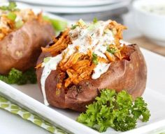 20 Healthy Slow Cooker Recipes for Meal Prep Sunday Slow Cooker Buffalo Chicken Stuffed Sweet Potato Crock Pot Recipes, Healthy Crockpot Recipes, Slow Cooker Recipes, Paleo Recipes, Real Food Recipes, Chicken Recipes, Cooking Recipes, Paleo Meals, Paleo Diet