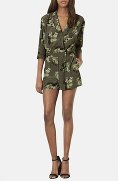 Topshop Collared Floral Print Romper available at #Nordstrom