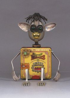 Assemblage Metal Art Robot Sculpture Loki by