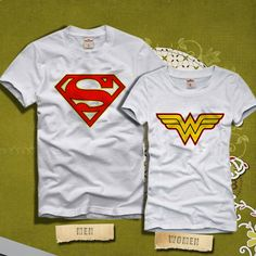 34d5fd6de7 Superman and Wonder Women Logo Couples Tshirt Family by KINCOTAN
