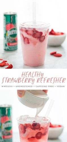 This healthy pink drink strawberry refresher is an unsweetened, mocktail made with only three ingredients. Caffeine-free, unsweetened, so refreshing Comida Do Starbucks, Bebidas Do Starbucks, Starbucks Recipes, Coffee Recipes, Vegan Starbucks, Starbucks Drinks, Coffee Drinks, Smoothie Drinks, Healthy Smoothies