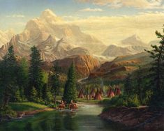 Native American Painting - Indian Village Trapper Western Mountain Landscape Oil Painting - Native Americans Americana Stream by Walt Curlee Native American Print, Native American Paintings, Native American Indians, American Art, Native Americans, Mountain Landscape, Landscape Art, Landscape Paintings, Landscapes