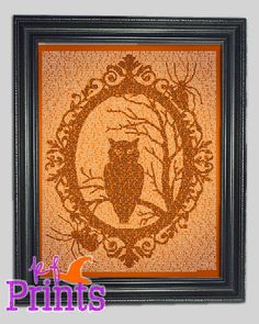 An eerie owl lurks in a tree surrounded by a creepy ornate frame. Each image is created with the lyrics and words of several scary songs and poems,