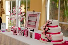 Cherry Blossom baby shower decorations - so pretty Cherry Blossom Nursery, Cherry Blossom Party, Cherry Blossoms, Baby Shower Decorations For Boys, Baby Shower Themes, Shower Ideas, Panda Baby Showers, Baby Shower Table, Girl Themes