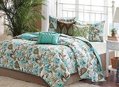 Turquoise Tropical Palm Leaf Beach House Theme California Cal King Quilt, Shams…