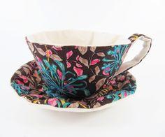 William Morris Textile Teacup Tidy-Brown Leaves